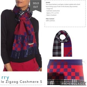 BURBERRY UNISEX CASHMERE SCARF, MIX CHECK PATTERN